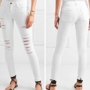 Frame White Le Skinny De Jeanne Destructed Jeans